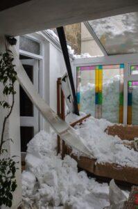 snow damaged conservatory roof